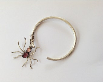 Silver Spider Bracelet- Sterling Spider Cuff- Artisan Silver Cuff- Spider Cuff - Jeweled Spider Bracelet - Insect Cuff - Colored spider Cuff
