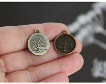 4 pcs Tree Charms (double sided) Antique Bronze 20mm x 17mm (BR146a2)