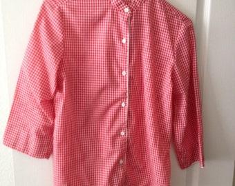 Womens Rhoda Lee Red and White checkered shirt