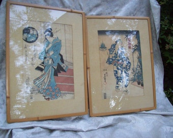 Pair of Vintage/Antique JAPANESE WOODBLOCK PRINTS of a Male and Female in Bamboo Frames