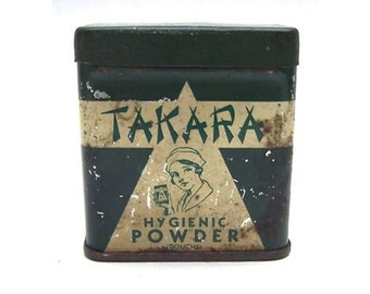 """Vintage 1933 Lithograph Tin Container Box of """"TAKARA"""" HYGIENIC POWDER Douche for Ladies"""
