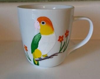White bellied caique mug