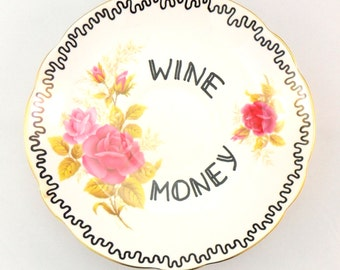 Wine Money Dish Change Holder Box Trinket Place Funn Gag Gift Adult Humour Present for her Wineo Lover Coming of Age 18th 21st Birthday Pink