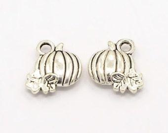10, 20, or 50 Pumpkin Charms, Silver, Halloween, Fall, Harvest, 11mm, bulk, wholesale