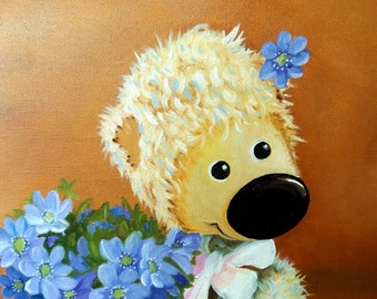 "Picture ""Teddy Girl with Flowers"", Original oil painting on canvas, Size 30 х 40 cm / 12'' x 16'', Teddy Bear"