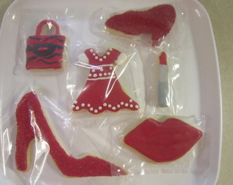 12 The Lady in Red Hand Decorated Cookies