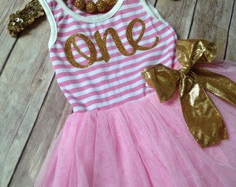 Pink and Gold birthday dress/Pink and Gold One birthday dress/1st Birthday Dess/Baby Girls Dress First Birthday