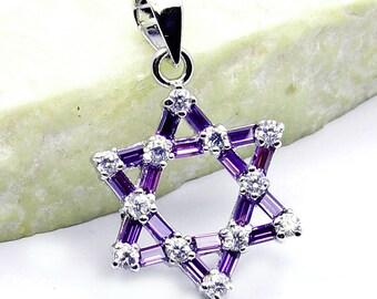 Jewish Star of David Purple, White CZ & .925 Sterling Silver Pendant , W94
