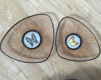 Vintage set of butterfly serving trays