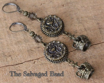 Antique Victorian Poppy & Crown Button Earrings, circa 1880's by The Salvaged Bead