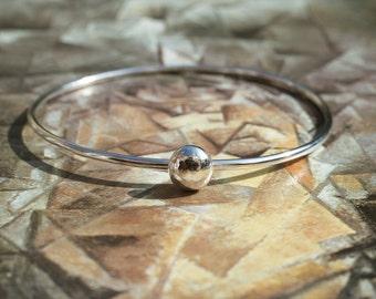 Handmade Sterling Silver Bangle With Silver Ball Detail, Narrow Bangle