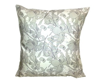 "Beige/Navy 18"" Pillow COVER, Floral Print accent pillow, decorative pillow, throw pillow, does not includes insert"