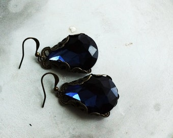 Earrings, Large blue crystal and brass filigree statement earrings