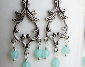 50% OFF Earrings, Victorian silver and mint chandelier earrings 2