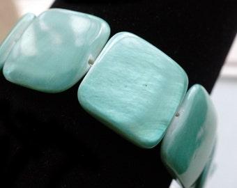 50% OFF SALE Bracelet, Chunky Turquoise shell bracelet 1