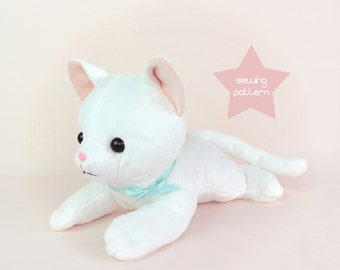 PDF cat stuffed animal sewing pattern - easy DIY plush soft toy kitten 15""