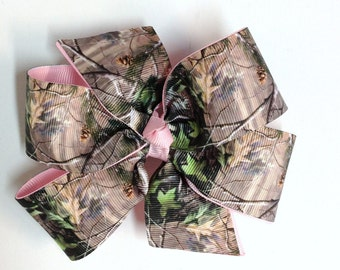 Girls Brown Green Tan Mossy Oak Camouflage Hair Bow With Pink Ribbon Camo Hair Clip Girls Hair Accessories
