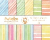 Watercolor Digital Paper, hand painted background, stripes, stripped pattern, pink, blue, rainbow, wedding invitation, easter, summer (8)