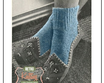 1950s Slipper Sock Vintage Knitting Pattern - Instant Download