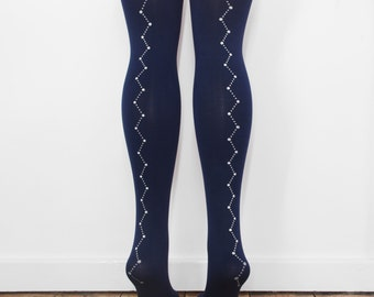 hand printed navy constellation tights