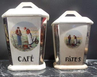 French vintage kitchen canisters