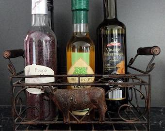 French vintage milk bottle holder