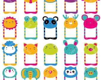 Cute Animals Head Notes Digital Clip Art (ED) (Instant Download)