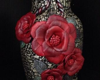 """Handmade Polymer Clay Vase """"Rosa"""", Flower Vase,  Glass Vase, Handmade Gift, OOAK, Polymer Clay Art, Sculpted Vase"""