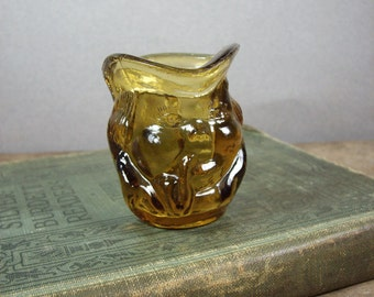 Vintage Miniature Toby Jug in Amber Glass
