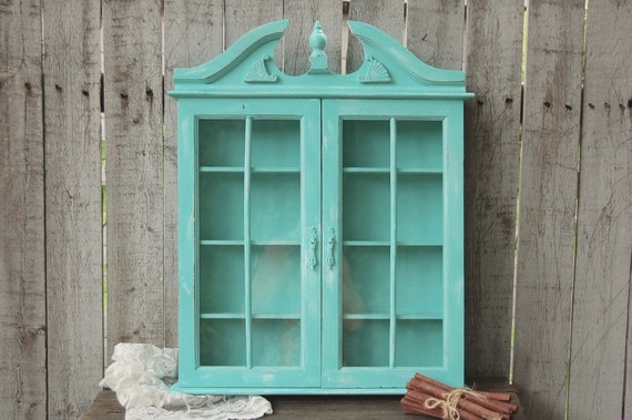 spice rack bathroom wall cabinet shabby chic aqua turquoise hand