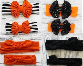 Halloween Top Knot, Halloween Floppy Bow Headband, Halloween Headband, Halloween Headwrap, Halloween Baby Headwrap, Halloween, Big Bow, Bow