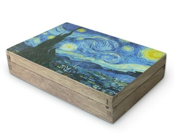 """Customized Wooden Gift Box with Fine Art Print """"Starry Night"""" by Vincent van Gogh (1889)"""