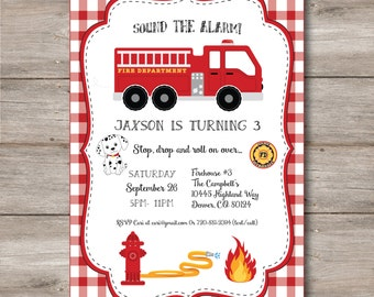 Firefighter Birthday Invitation with Editable Text, Printable Fireman Party Invitation, Boys Firefighter Party Invitation with Editable Text