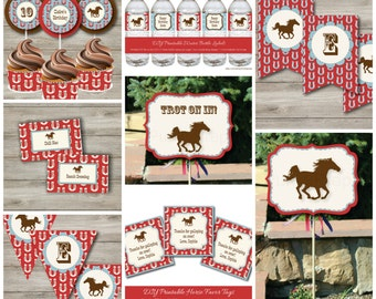 Horse Party Kit with Editable Text, Printable Horse Party Kit w/ Invitation, DIY Cowgirl Cowboy Horse Birthday Party Kit, DIY Horse Party