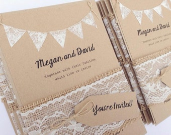 Rustic Wedding Invitation Lace Bunting on Kraft Card with Burlap and Lace band . Summer Fete Country Wedding