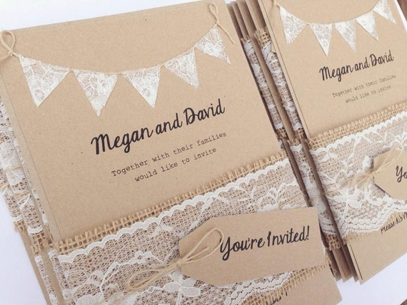 Rustic Wedding Invitation Lace Bunting On Kraft Card With