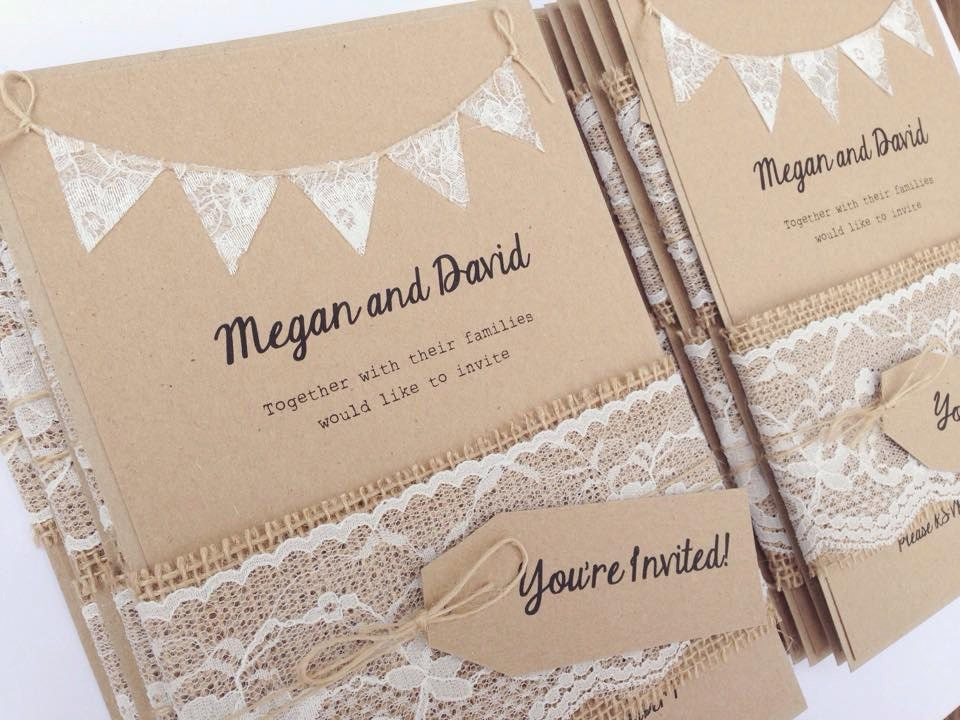 Lace Rustic Wedding Invitation Lace Bunting On Kraft Card With