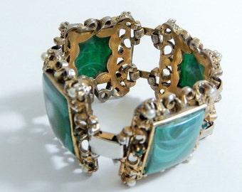 Green Malachite Square Stone Vintage Baroque Ornate Bracelet