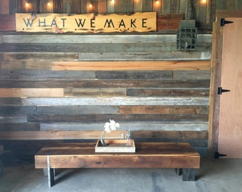 Modern Bench Made from Reclaimed Barn Wood With Solid Steel Legs