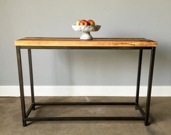 Reclaimed Barn Wood Console Table With Steel Metal Base