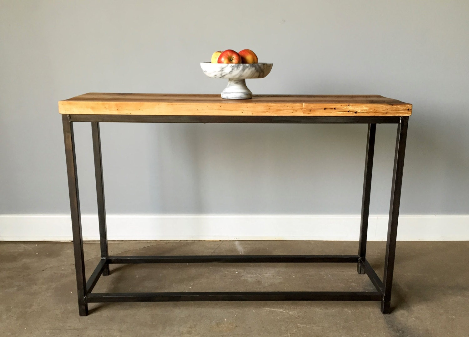 Reclaimed barn wood console table with steel metal base for Metal and wood console tables