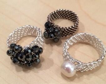 Handbraided ring in sterlingsilver