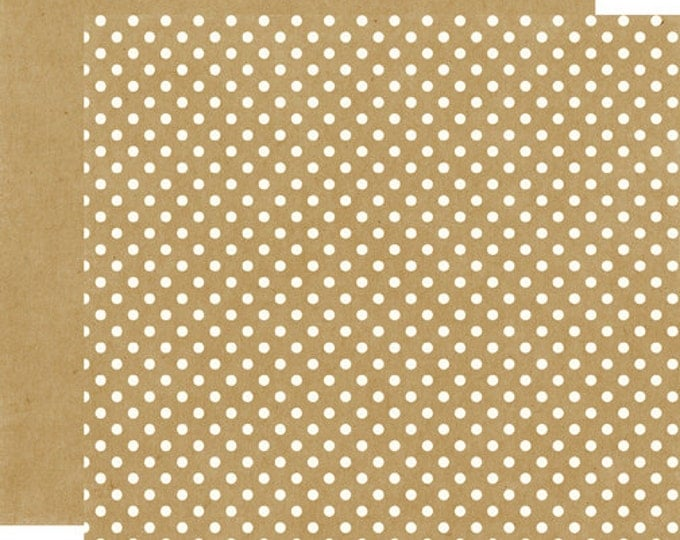 2 Sheets of Echo Park Paper DOTS & STRIPES Neutrals 12x12 Scrapbook Paper - Kraft (DS15019)