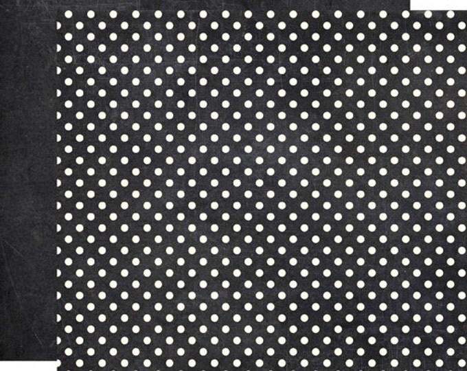 2 Sheets of Echo Park Paper DOTS & STRIPES Neutrals 12x12 Scrapbook Paper - Chalkboard (DS15021)