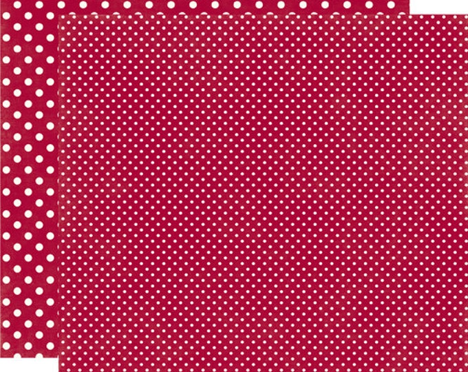 2 Sheets of Echo Park Paper DOTS & STRIPES Christmas 12x12 Scrapbook Paper - Crimson (2 Sizes of Dots/No Stripes) DS15043