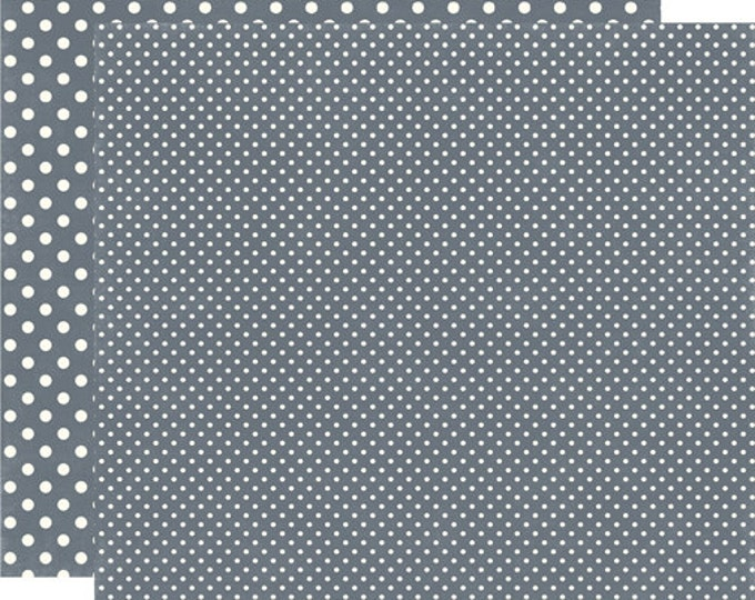 2 Sheets of Echo Park Paper DOTS & STRIPES Winter 12x12 Scrapbook Paper - Charcoal (2 Sizes of Dots/No Stripes) DS15049