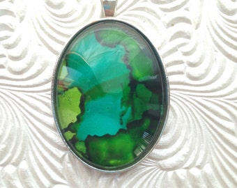 Oval INKscapes Pendant-Green and Aqua Pendant