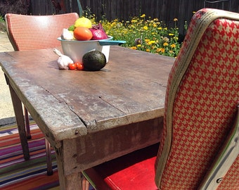Refurbished Single Board Top Table/  Antique Primitive Rustic Farm Table NO CHAIRS -Can Be Customized