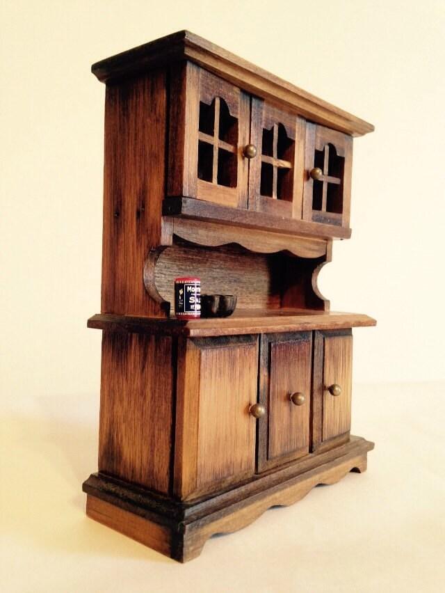 dollhouse vintage rustic china cabinet step back cabinet. Black Bedroom Furniture Sets. Home Design Ideas