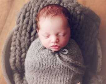 GREY Snuggle Sack, Mohair Swaddle Sack, Newborn Baby Cocoon, Photo prop, Photography Prop